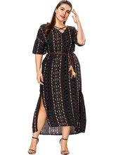 Vintage Women Dress Summer 5XL Plus Size Maxi Elegant Loose Sexy Slip V Vestidos Print Big Black 2019 Clothes