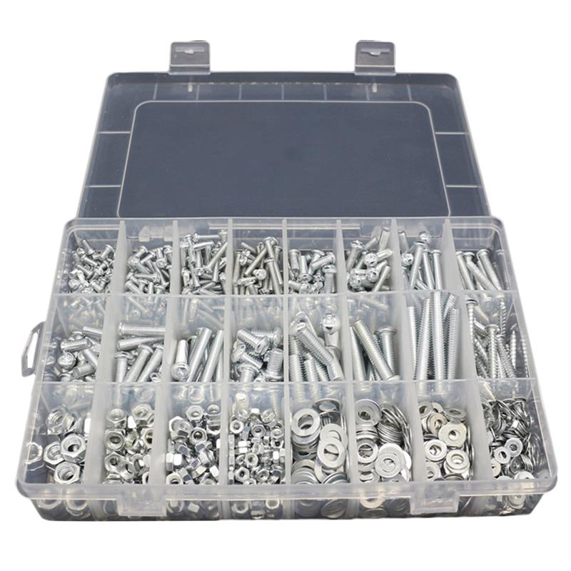 24 Grid Box With Multipurpose Pan Head Screws Kit Nut Gasket Screw Bolt Metal Screw Assortment Home Hardware Tools Accessories