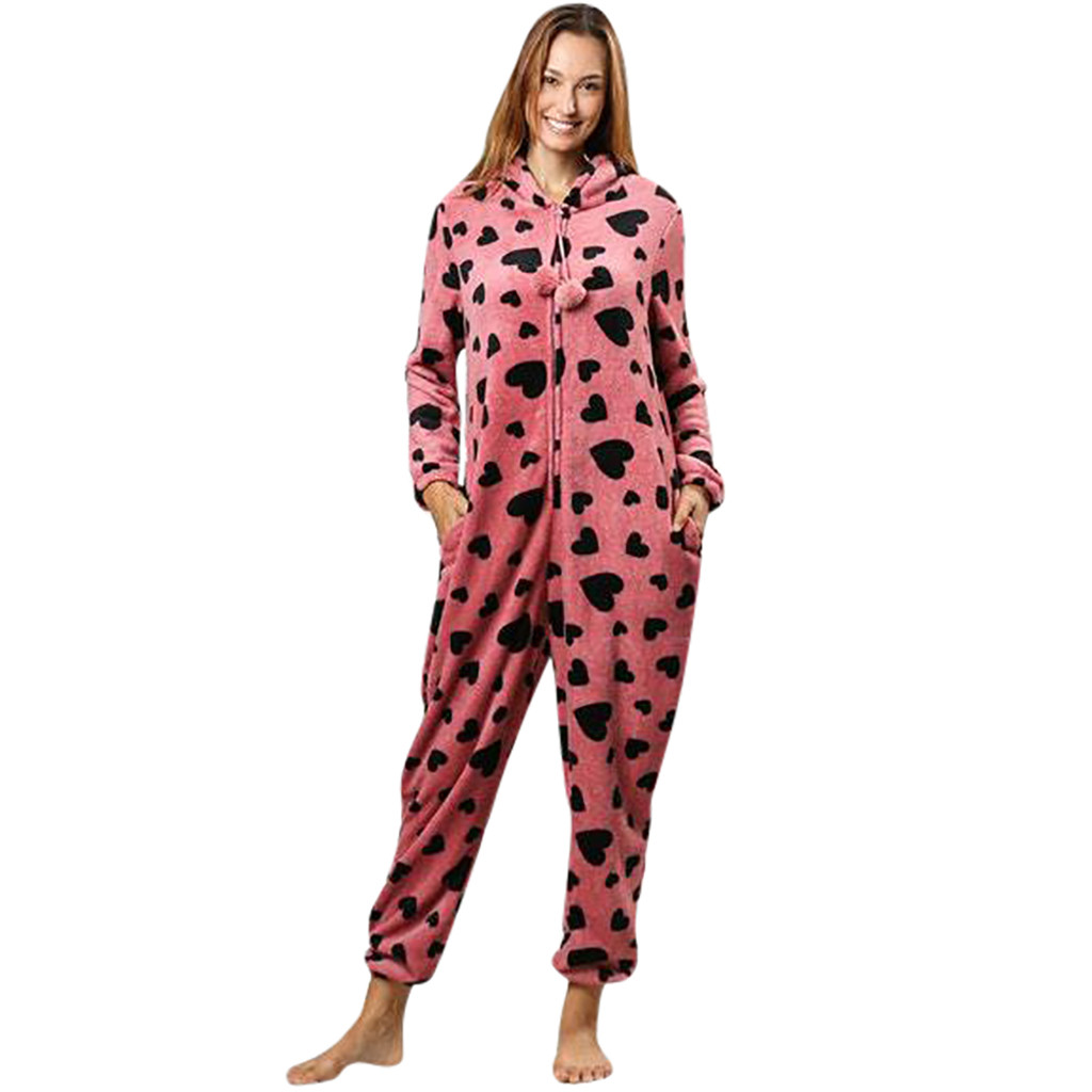 Spring Autumn Winter Pink For Ladies Womens Printing Hooded Flannel Long Sleeve Onesies Tracksuit #G25