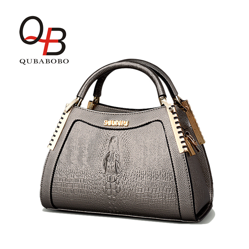 ФОТО QUBABOBO Dress Top-handle Bags Vintage Women-messenger-Bags With Alligator Decoration Medium Crossbody bag lady Handbag
