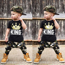 2019 New Crown Camo Ribbon Babys Boys Clothes Sets King Print T-Shirt Top And Camouflage Pants 2Pcs For Sports Children's Wear