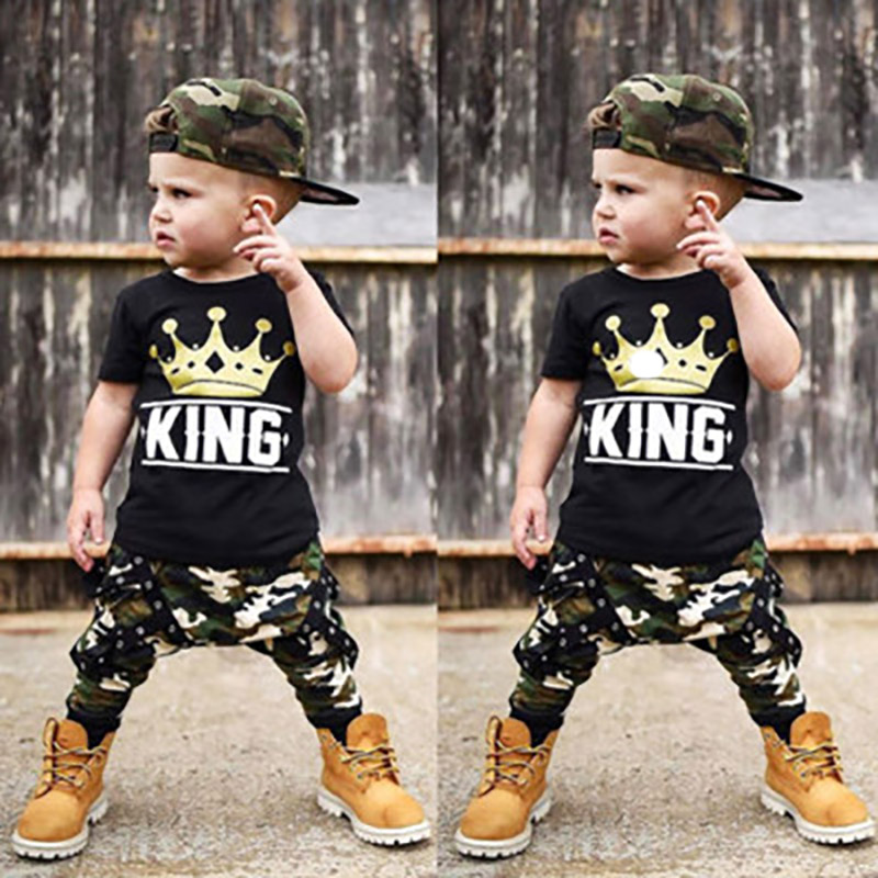 2019 New Crown Camo Ribbon Babys Boys Clothes Sets King Print T-Shirt Top And Camouflage Pants 2Pcs For Sports Children's Wear image