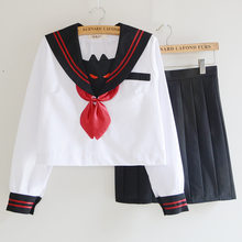 UPHYD Hot Sale Kawaii School Uniform S-XXL Sailor Suits Top+Skirt+Tie Teenage Girls Japanese Anime Uniforms(China)