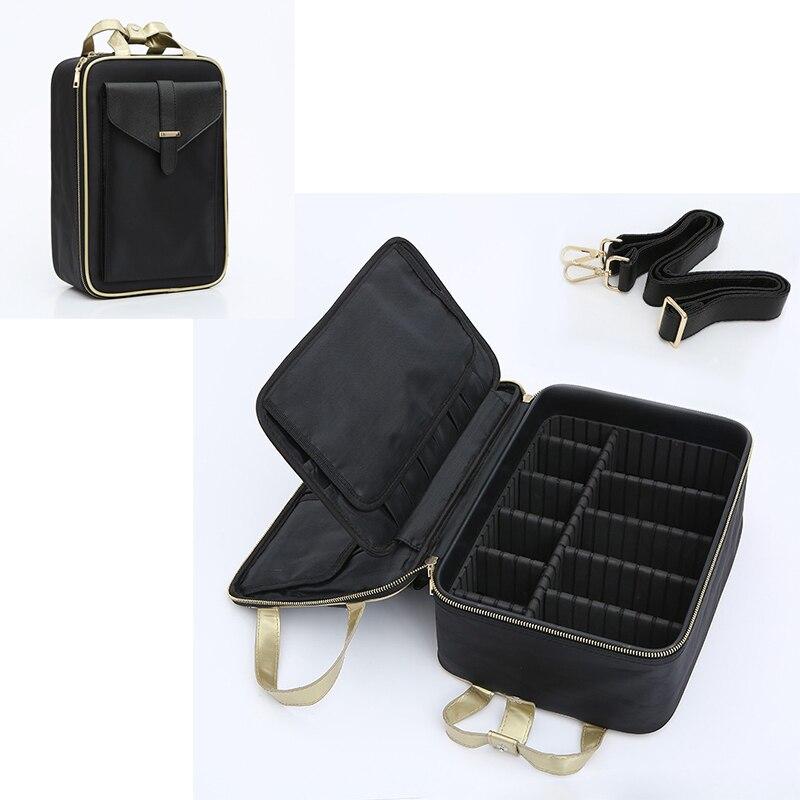 Grand sac de maquillage de voyage organisateur étui à cosmétiques sacs de toilette maquillage porte-brosse professionnel sèche-cheveux cas de rangement de beauté