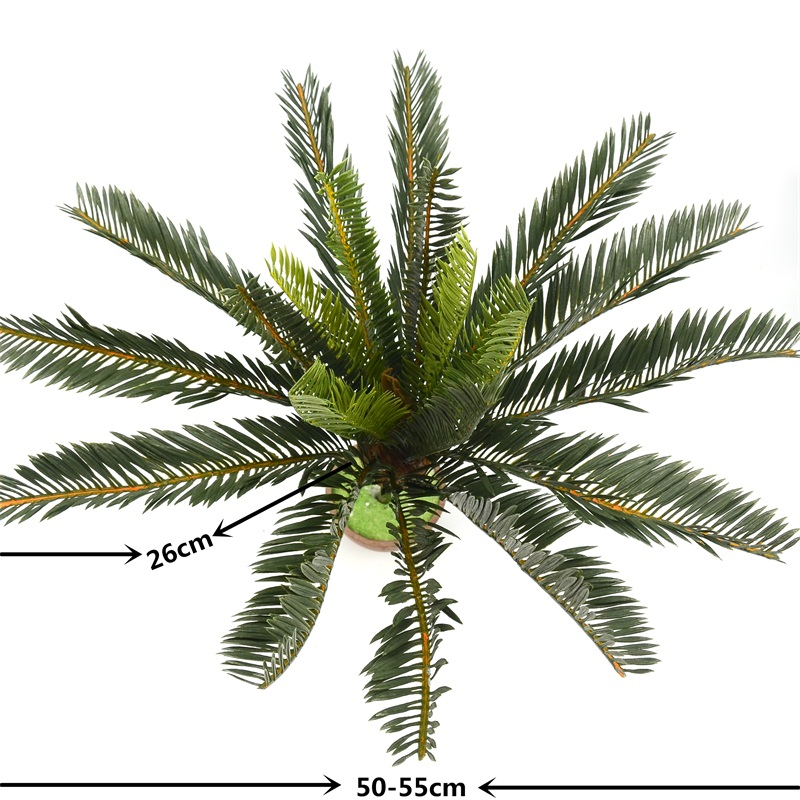 New Artificial Palm Tree Green Leaf Plant Plastic Pot Bonsai Foliage Family Garden Wedding Decoration Green Belt Decoration Use