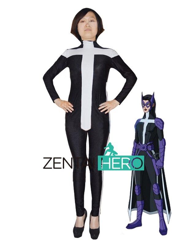 ZentaiHero Custom Black & White Spandex Huntress Helena Bertinelli DC Comics Superhero Costumes Adult Bodysuit Zentai Catsuits
