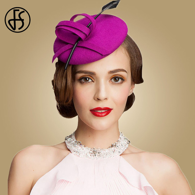 f9e5d40fae7 FS Fascinators For Wedding Women Elegant Hats 100% Australia Wool Ladies Pillbox  Hat Royal Fuchsia