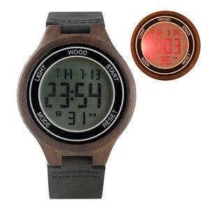 Image 4 - LED Digital Mens Watches Retro Ebony Wood Handmade Electronic Men Wristwatch Leather Woody Sport Man Clock Luxury reloj Hombre