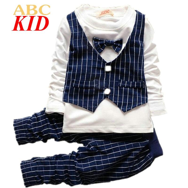 Spring Autumn Long Sleeve Shirt + Pants Kids Boys Clothing Set Bow Tie Vest Design Shirt Tops Toddler Boy Plaid Shirt Suit KD259