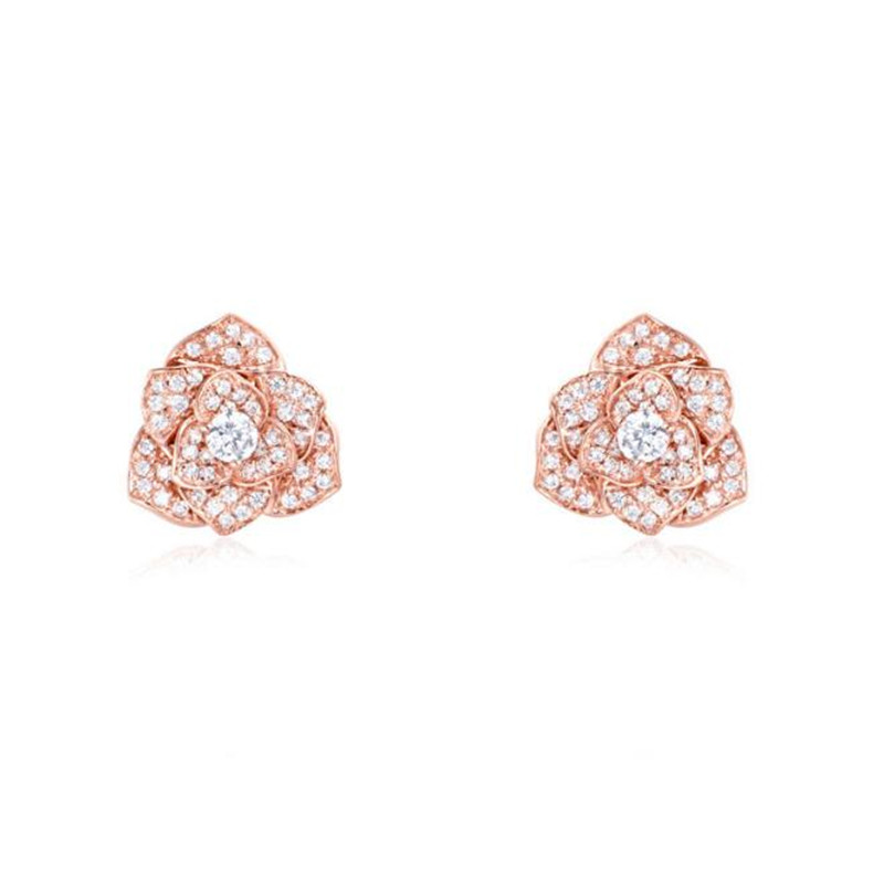 New Luxury 18K Gold Statement Micro Pave Cubic Zircon Rose Flower Stud Earrings Wedding Bijoux Bridal Brincos Jewelry For Women pair of stylish double end faux zircon rhombus flower stud earrings for women