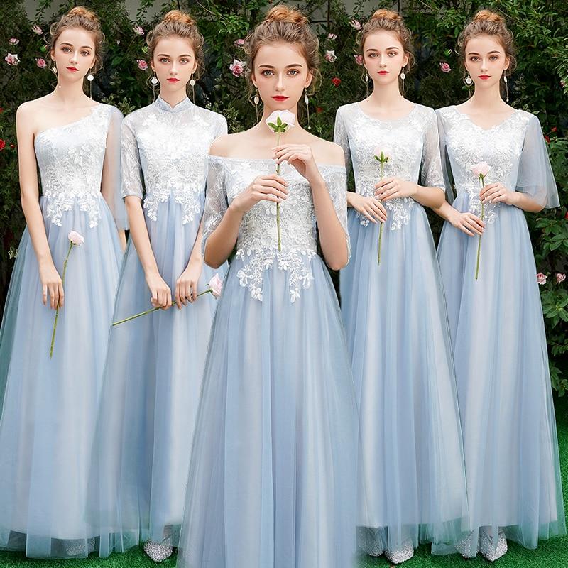 Beauty Emily Long Grey Bridesmaid Dresses 2019 Long for Women Sweep Train Vestidos Para Festa A-line  Wedding Party Prom Dress