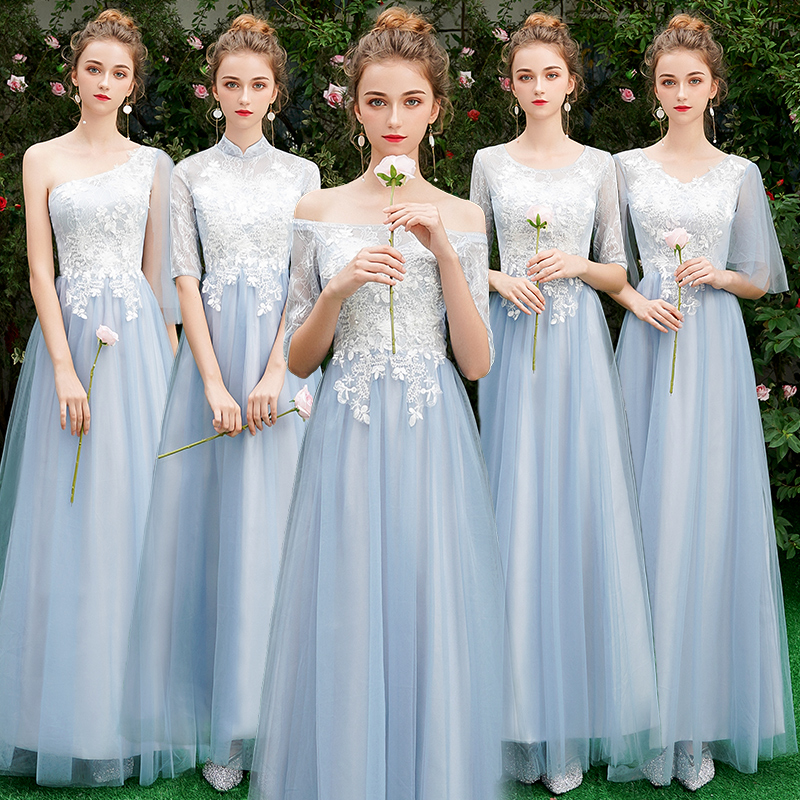 Beauty Emily Long Grey   Bridesmaid     Dresses   2018 Long for Women Sweep Train Vestidos Para Festa A-line Wedding Party Prom   Dress