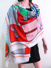Horse Plaid Scarf Women Winter Pure Cashmere Female Scarves Brand Design Soft Warm Shawls Wraps Pashmina 200*100cm