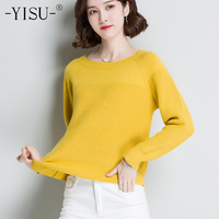 YISU 2018 Women Cashmere Blend Sweater O Neck Loose Pullovers Long Sleeve Jumpers Womens Solid Color