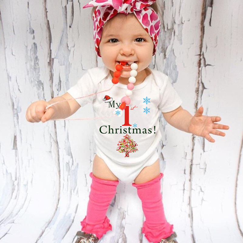 My First Christmas Bodysuit Children Newborn Baby Boy Girl Clothes Short Sleeve Cute Babes Sunsuit Elastic Playsuit 0-24M DS29