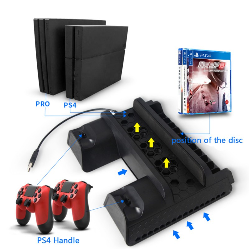 Multi Function Cooling Base Vertical Stand for PS4 Slim/for PS4/for PS4 PRO with Cooling Fan Controller Charging Station USB