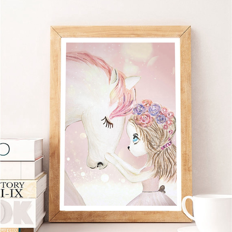 Cartoon Illustration Cute Baby Girl With Horse Canvas Art Print Girls Kids Room Decor Blush Pink Flowers Girl Canvas Painting illustration