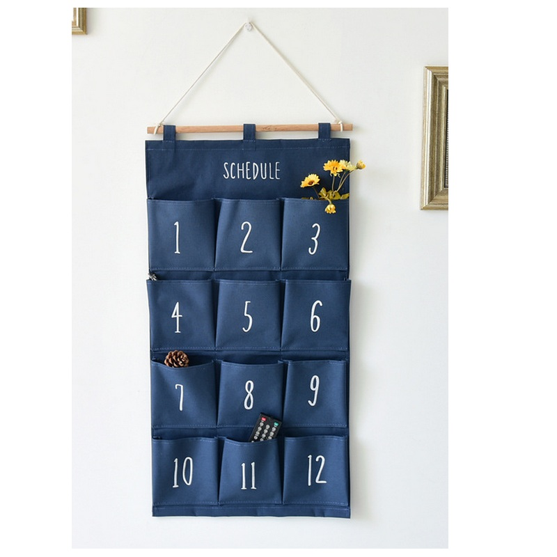 Wall hanging organizer Door storage pockets 12 pockets Cotton wardrobe hanging bags Sundries storage box Closet