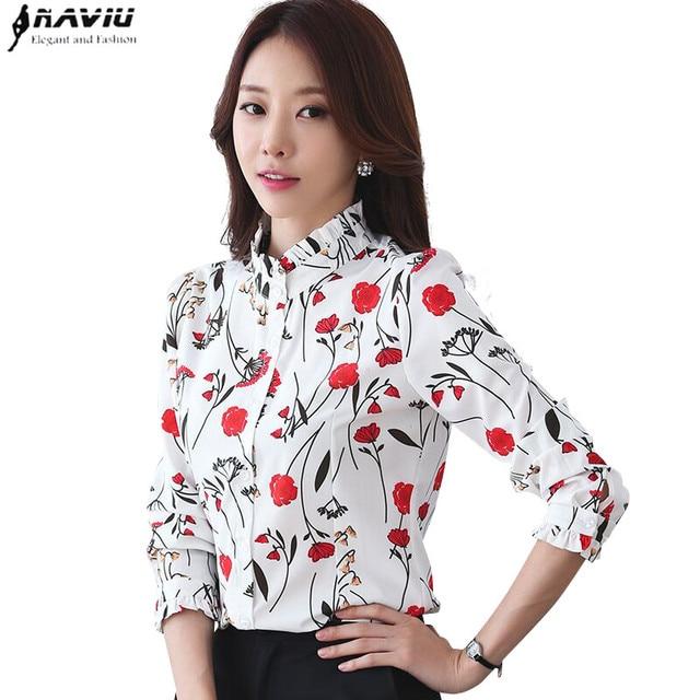 ربيع أنيق المرأة قميص موضة جديدة رسمية الوقوف طوق طباعة طويلة الأكمام ضئيلة الشيفون البلوزات مكتب السيدات بلوزات حجم كبير
