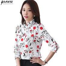 Camisa elegante de primavera para mujer, blusas de chifón ajustadas de dibujo de manga larga con cuello vertical, blusas de oficina de talla grande para mujer