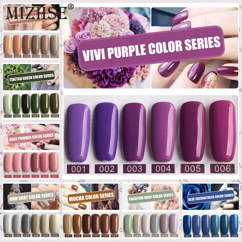 Esmalte de uñas MIZHSE, 6 uds., Set de esmalte de uñas Para Pintar Unha, Etiqueta Privada, Gel de imprimación UV, esmalte de uñas Gellak laca