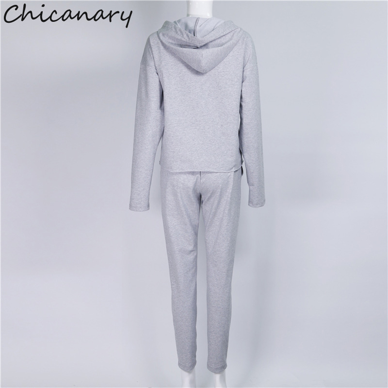 383825c3f9d Chicanary Key Hole Women Tracksuit Fall Hoodies Pants Sets with Knee Ripped  V neck Hooded Pullover Tops-in Women's Sets from Women's Clothing on ...