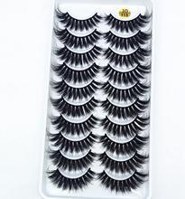 100% de pestañas postizas 3D de visón Real, Kit de maquillaje de extensión de pestañas suaves, 10 pares, novedad de 2019