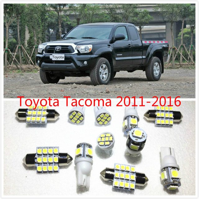 11 set White LED Lights Interior Package Map Dome For Toyota Tacoma