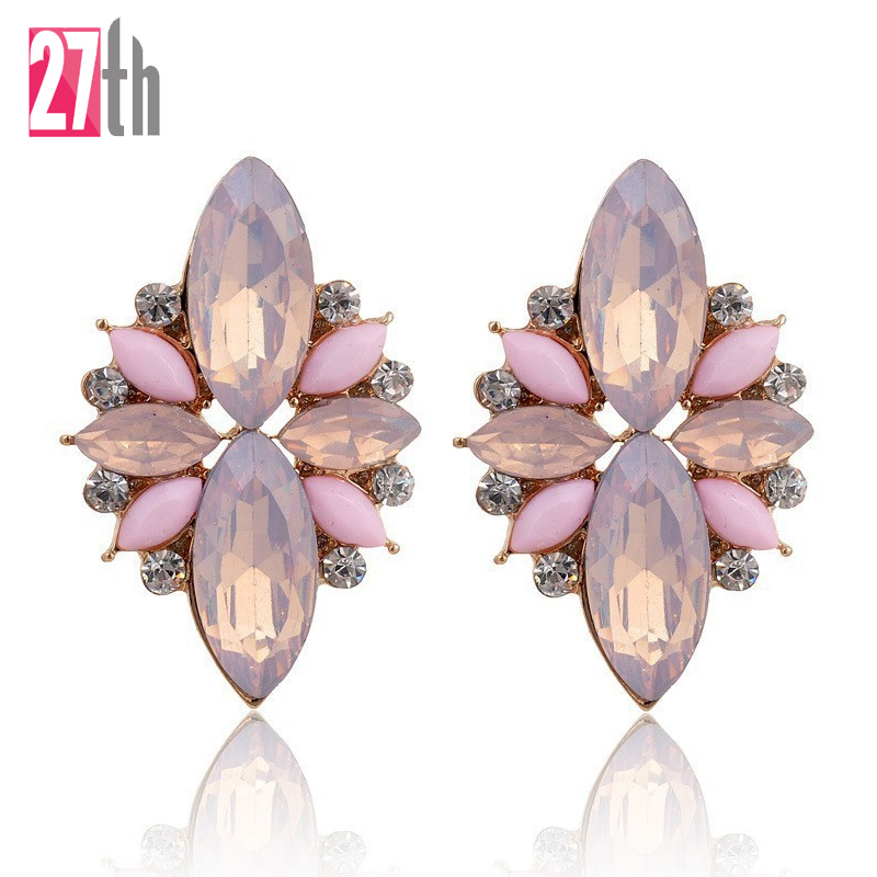 2017 New Elegant Opal Stone Stud Earrings Crystal Earrings for Women Trendy Gold Color Fashion Earrings