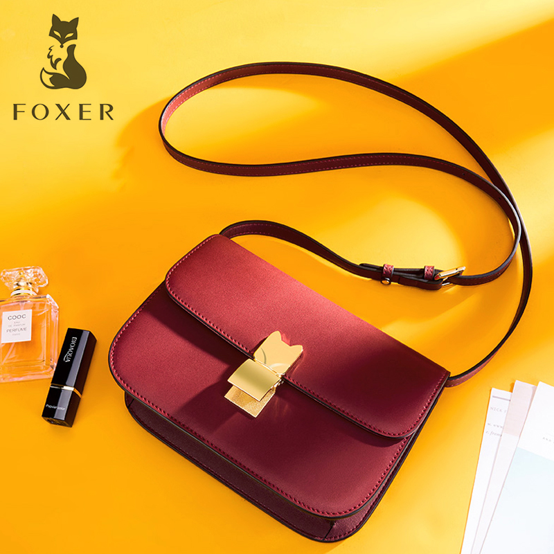 FOXER Women Leather Shoulder Bags 2018 New Fashion Female Hight Quality Crossbody Bag Ca Cowhide Messenger Bags for Woman foxer brand women s bag new fashion cowhide leather crossbody bag messenger bag for women female shoulder bags