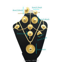 New Arrival Ethiopian Big Size Fashion Jewelry Sets 18k Gold Plated Trendy Jewelry African Wedding Bridal
