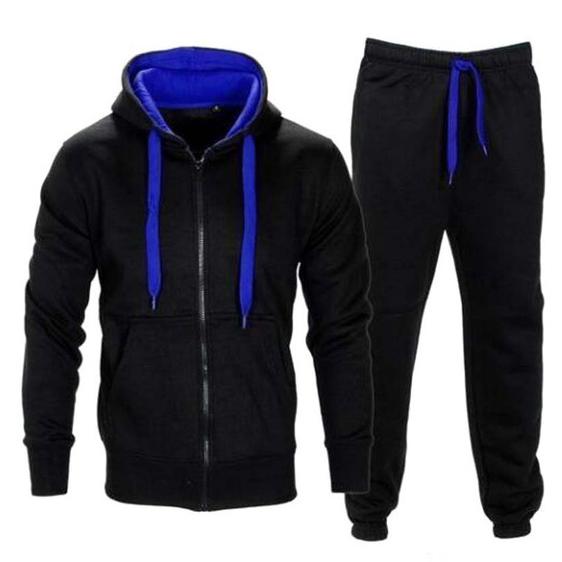 2 Piece Men Set Autumn Zipper Hooded Jacket Sweatshirt Drawstring Pants Mens Sportwear Suits Casual Hoodies Tracksuits 2XL Size