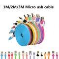 1 m/2 m/3 m flat fideos micro usb cable mini 1 m flat fideos cargador de sincronización de datos usb micro cable microusb para samsung android
