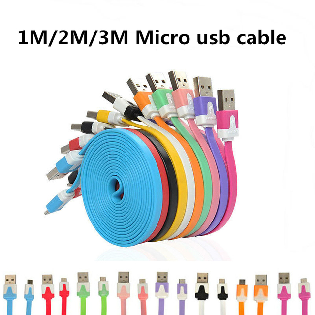 1M/2M/3M Flat Noodle Micro Usb Cable Mini 1M Flat Noodle Micro USB Data Sync Charger Microusb Cable for Samsung Android