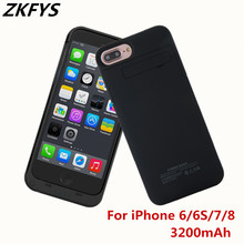 ZKFYS 3200mAh Portable Ultrathin Fast Charger Battery Case For iPhone 6 6s 7 8 High Quality Power Bank Cover