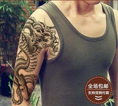 Black dragon tattoo adesivi impermeabile uomo tradizionale fiore braccio tatuaggi spalla adesivi