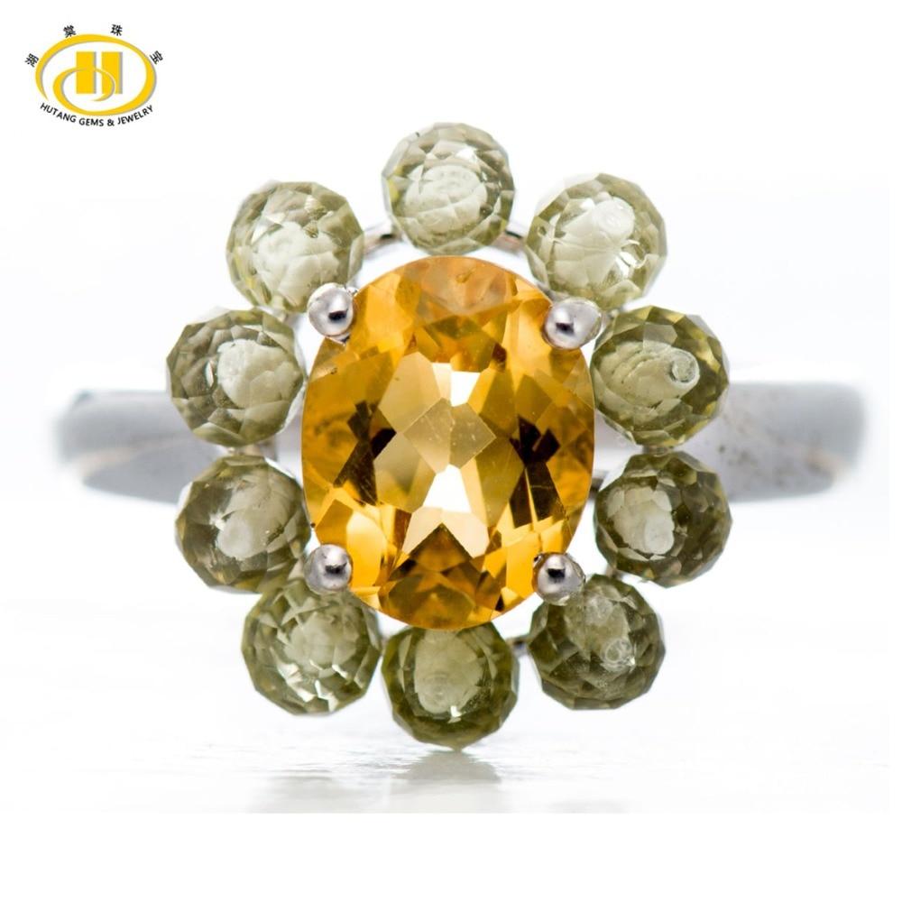 Hutang Stone Jewelry 3 2Ct Natural Citrine Lemon Quartz Gemstone Solid 925 Sterling Silver Flower Ring