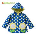 Children Girls Outerwear Windproof Hooded Coat Kids Spring Autumn Clothes Floral Girl Windbreaker Hoodies Jacket Baby Girl Coat