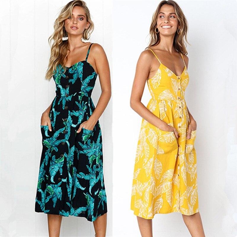 New 2018 Summer Women Elegant Dress Robe Sexy Backless Spaghetti Strap Flower Print Dresses Loose Knee-Length Boho Beach Dress