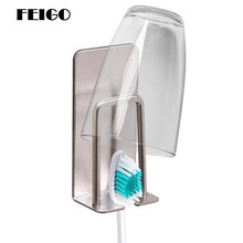 FEIGO 1 Pcs Stainless Steel Wall Mount Toothbrush Holder Hook Self-Adhesive Tooth Brush Organizer Box Bathroom Accessories F128