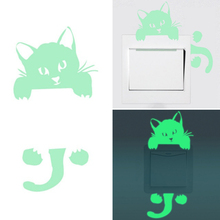 Luminous DIY Cute PVC home Cat Switch Wall Sticker Night light bedroom Fluorescent Sticker mural wall decals poster