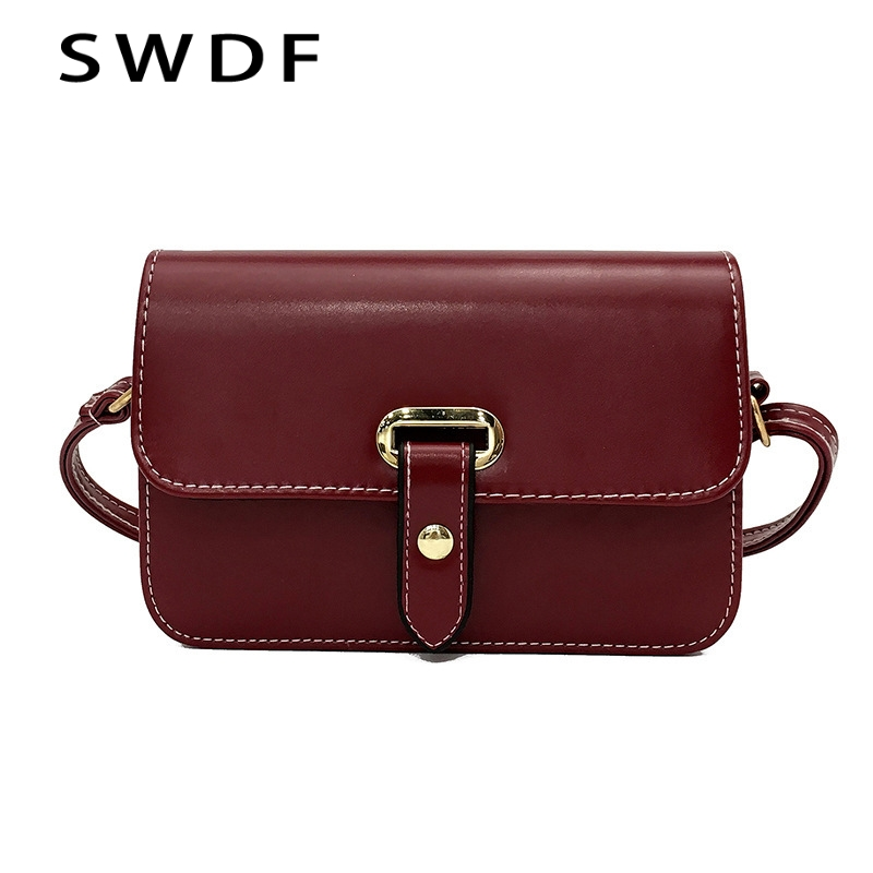SWDF 2018 Hot Crossbody Bags For Women Casual Mini Candy Color Messenger shoulder  Bag For Girls Flap Pu Leather handbags