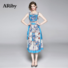 ARiby Women Summer Blue Elegant Sleeveless Tank Dress 2019 New Fashion Vintage Printed Round Collar Temperament A-Line