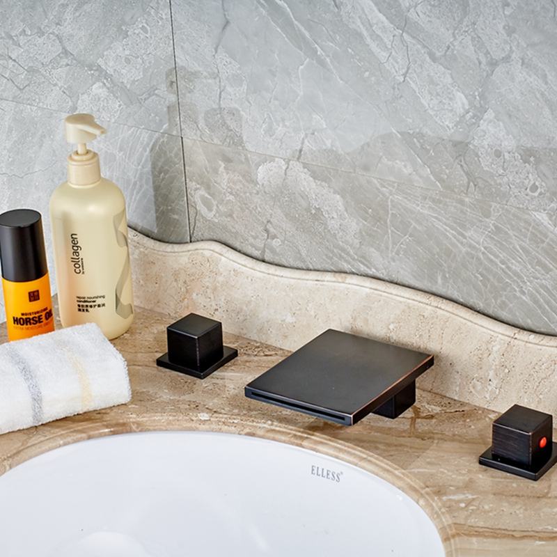 Square Oil Rubbed Bronze Bathroom Tub Faucet Dual Handles Mixer Tap 3 Holes Tap basin mixer faucet for bathroom dual handles three holes oil rubbed bronze