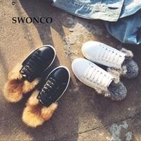 SWONCO Women's Casual Half Shoes Korean Style Girl Winter Sneakers Women Shoes Flat Leather Fur Warm Plush Woman Winter Shoe