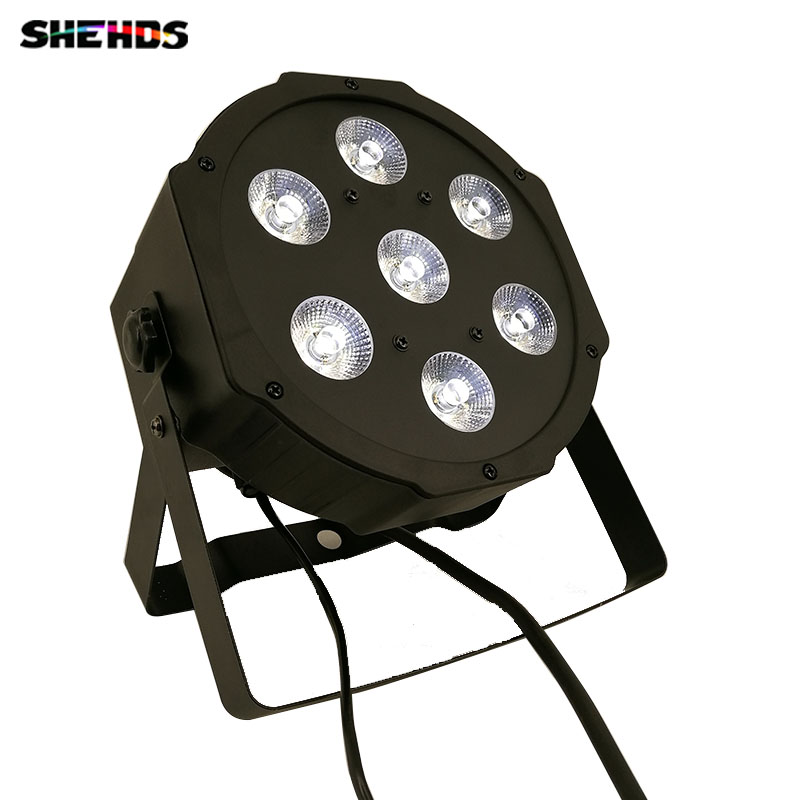 LED Flat Par 7x3W White Color Stage Lighting 7 Channels Business Lights High Power Light with Professional for Party Disco DJ