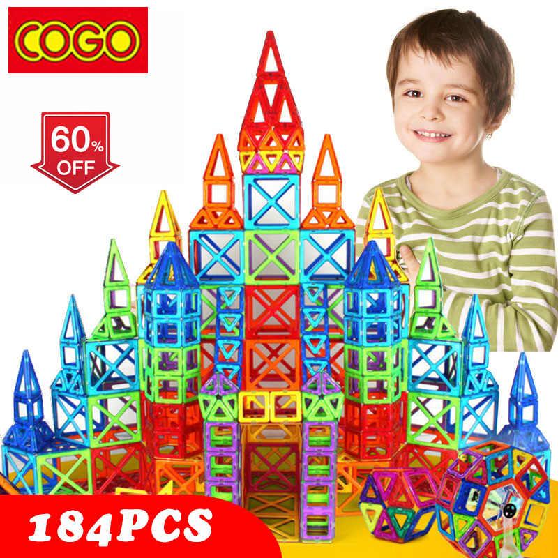 110-184pcs Mini zestaw Magnetic Designer Construction plastikowy konstruktor zabawka magnetyczna edukacyjne zabawki dla dzieci prezent na boże narodzenie