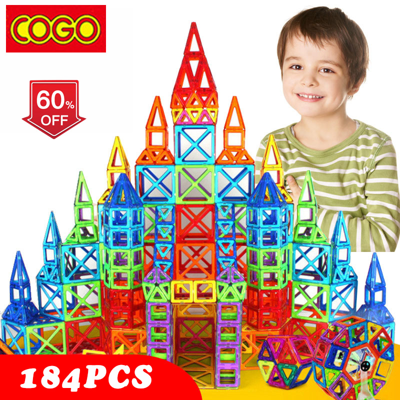 COGO 184pcs Mini Magnetic Designer Construction Set Model & Building Toy Plastic Magnetic Blocks Educational Toys For Kids Gift telecool magnetic building blocks toys mini 80 100 pcs diy set inspire kids educational construction designer toy