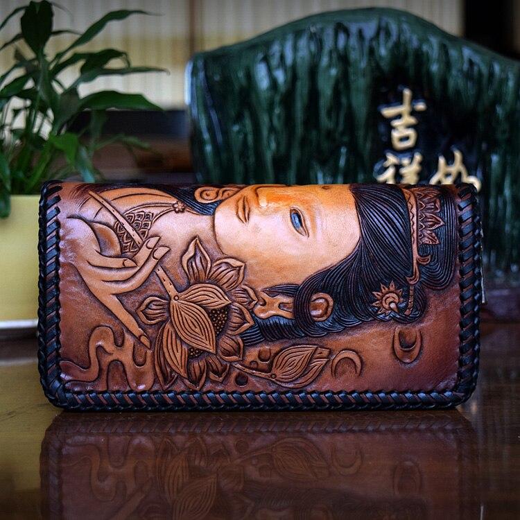 OLG.YAT Italian Vegetable tanned cowhide handmade wallet long zipper handbag womens purse Guanyin Ethnic Retro women wallets italian visual phrase book