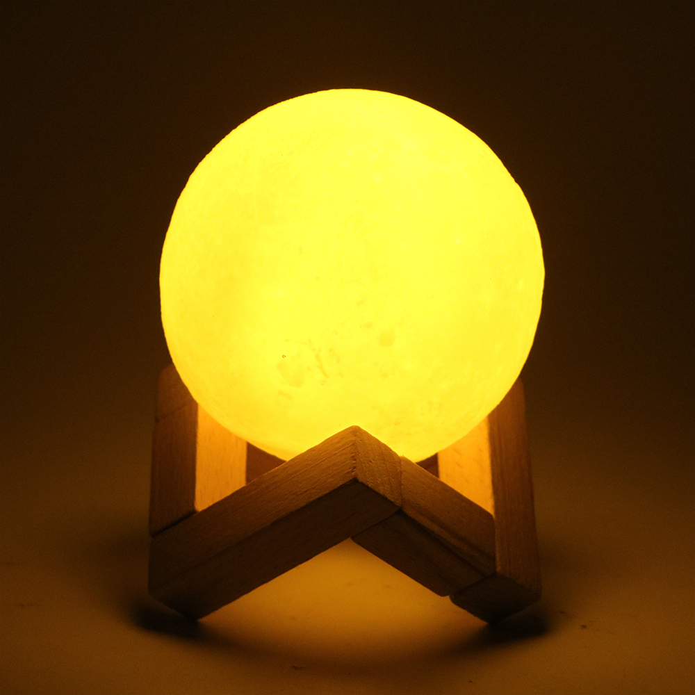 Itimo 3D Луна лампы Перезаряжаемые USB светодиодный ночник с деревянным держателем Домашний Декор сенсорный выключатель креативный подарок 8 см...